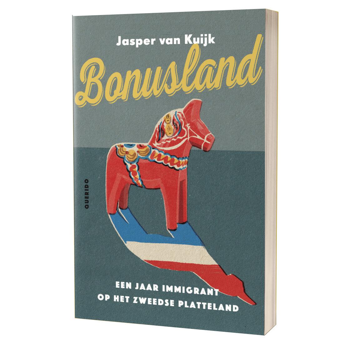 Omslag van het boek Bonusland met daarop een rood Dalarna paard, op een witte achtergrond